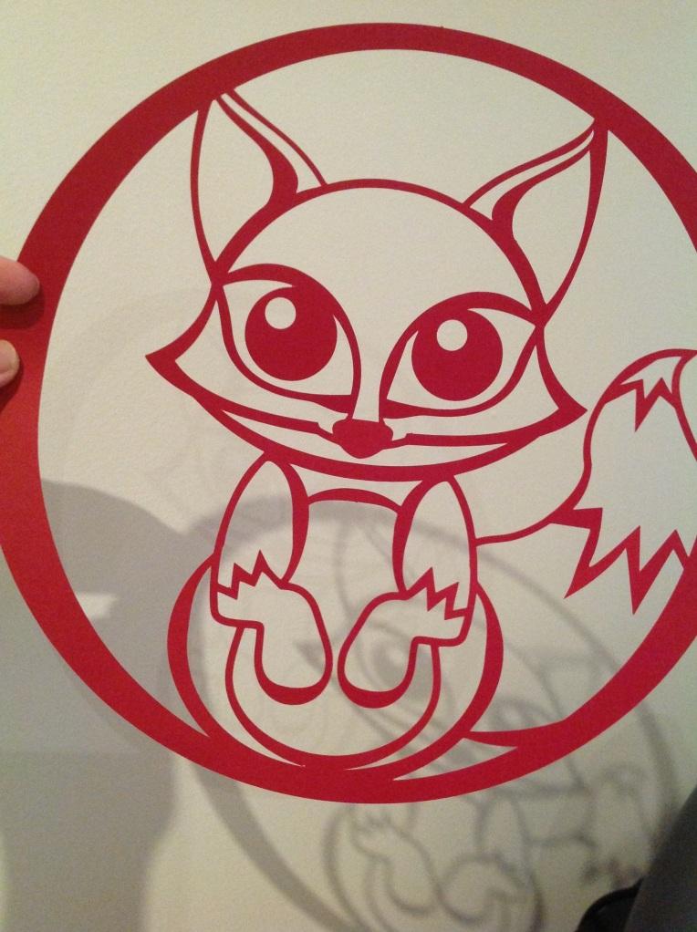 Finished fox paper cut