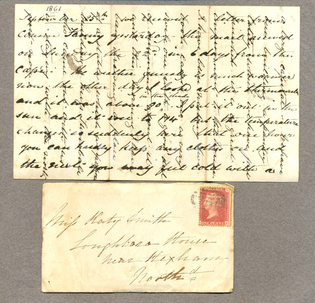 Victorian envelope with letter showing cross writing
