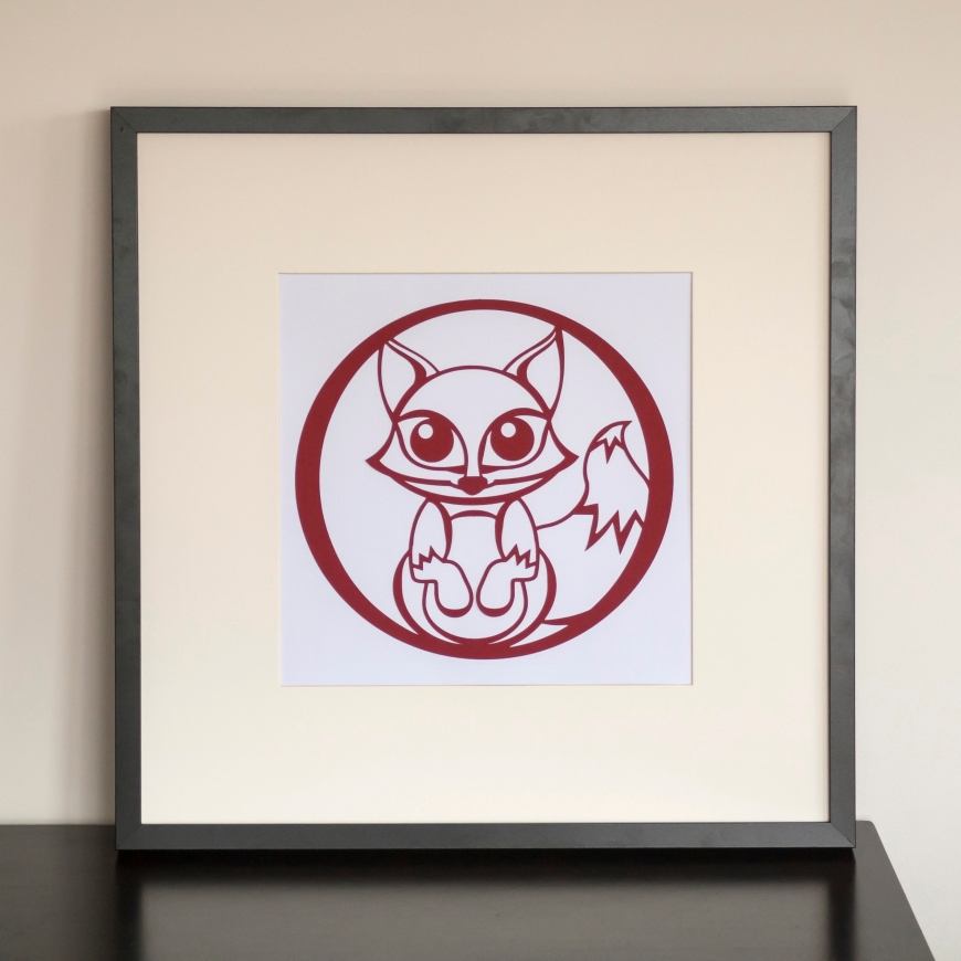 Framed fox paper cut